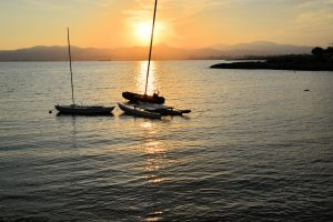boats in sunset
